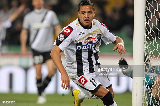 Alexis Alejandro Sanchez of Udinese Calcio celebrates after scoring the opening goal during the Serie A match between Udinese Calcio and Juventus FC...