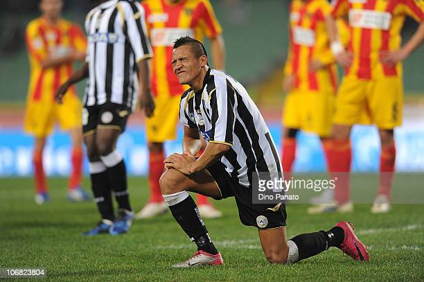 Alexis Alejandro Sanchez of Udinese reacts during the Serie A match between Udinese and Lecce at Stadio Friuli on November 14 2010 in Udine Italy