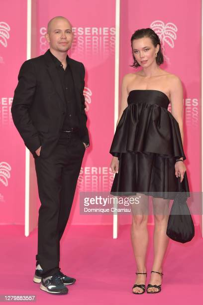 Alexis Almstrom and guest attend the Pink Carpet Day Four at the 3rd Canneseries on October 12 2020 in Cannes France