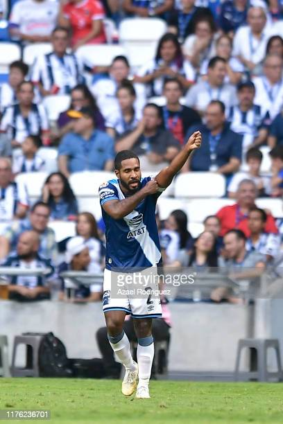 Alexis Angulo of Puebla celebrates after scoring his team's second goal during the 10th round match between Monterrey and Puebla as part of the...