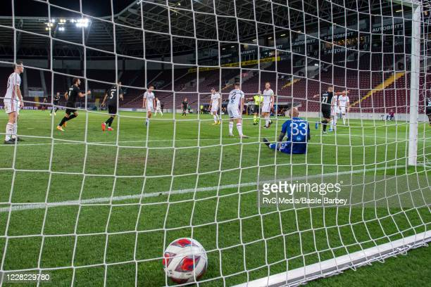 Alexis Antunes of Servette FC celebrates with his teammates after scoring a goal during the UEFA Europa League qualification match between Servette...
