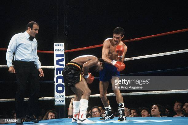 Alexis Arguello lands a punch against Aaron Pryor during the fight at the Orange Bowl in Miami Florida Aaron Pryor won the WBA World light...