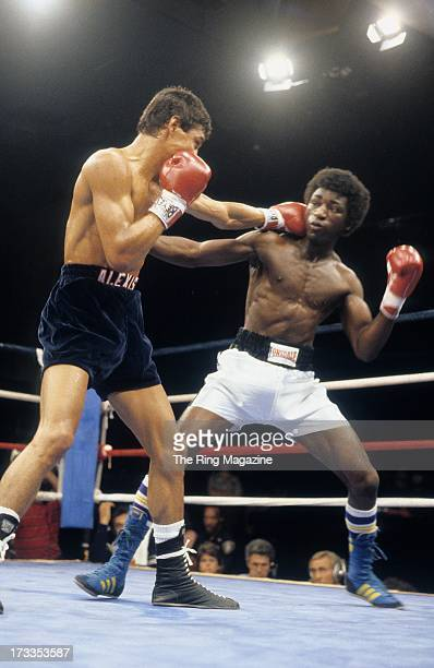 Alexis Arguello lands a punch against Cornelius BozaEdwards during the fight at the Superstar Theatre in Atlantic City New Jersey Alexis Arguello won...