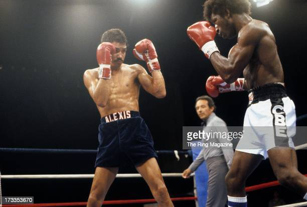 Alexis Arguello looks to block a punch from Cornelius BozaEdwards during the fight at the Superstar Theatre in Atlantic City New Jersey Alexis...