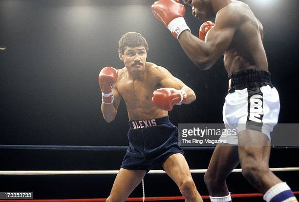Alexis Arguello looks to land a punch against Cornelius BozaEdwards during the fight at the Superstar Theatre in Atlantic City New Jersey Alexis...