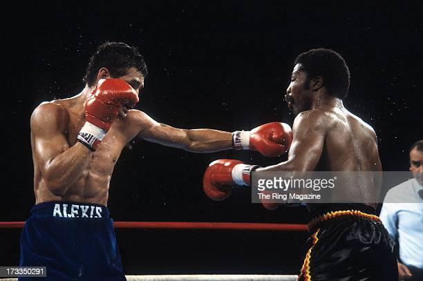 Alexis Arguello throws a punch against Aaron Pryor during the fight at the Orange Bowl in Miami Florida Aaron Pryor won the WBA World light...