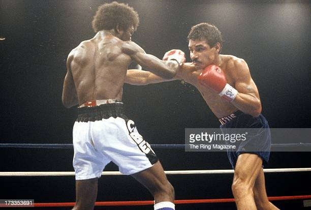 Alexis Arguello throws a punch against Cornelius BozaEdwards during the fight at the Superstar Theatre in Atlantic City New Jersey Alexis Arguello...