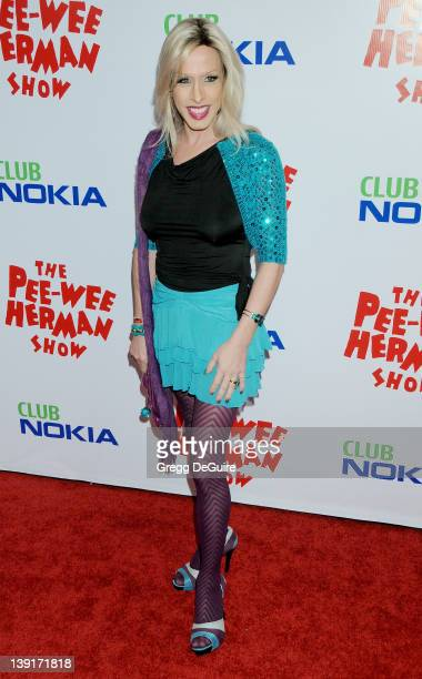 Alexis Arquette arrives at the Opening Night of 'The PeeWee Herman Show' at Club Nokia at LA Live on January 20 2010 in Los Angeles California