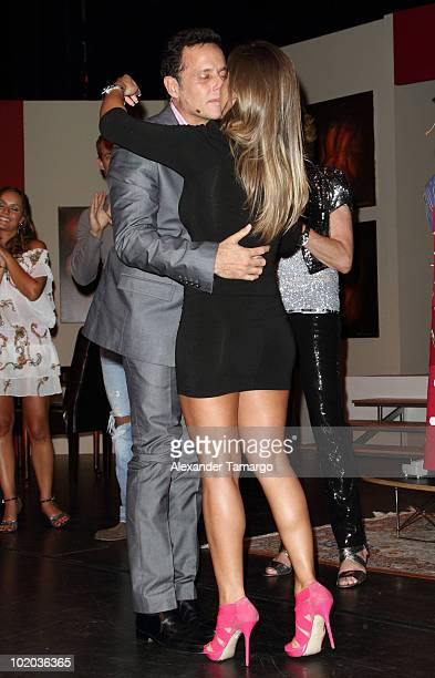 Alexis Ayala and Fernanda Lopez are seen on stage after Alexis proposed to Fernanda at the premiere of 'Un Amante a la Medida' at the Gusman Center...