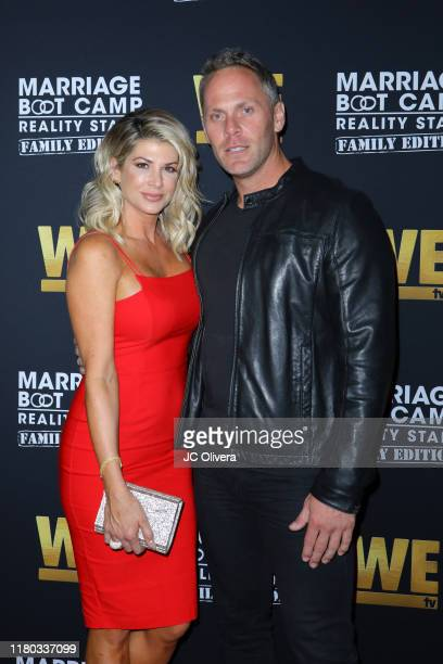 Alexis Bellino and Drew Bohn attend WE tv celebrates the premiere of 'Marriage Boot Camp' at SkyBar at the Mondrian Los Angeles on October 10 2019 in...