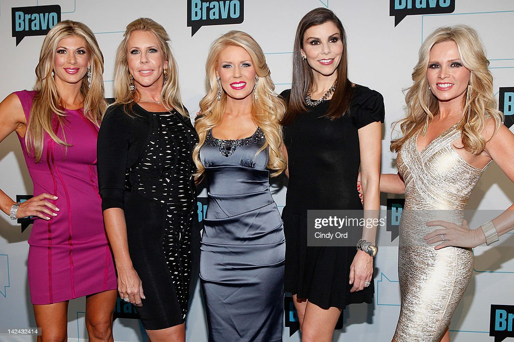 Alexis Bellino, Vicki Gunvalson, Gretchen Rossi, Heather Dubrow and Tamra Barney of Real Housewives of Orange County attend the Bravo Upfront 2012 at Center 548 on April 4, 2012 in New York City.
