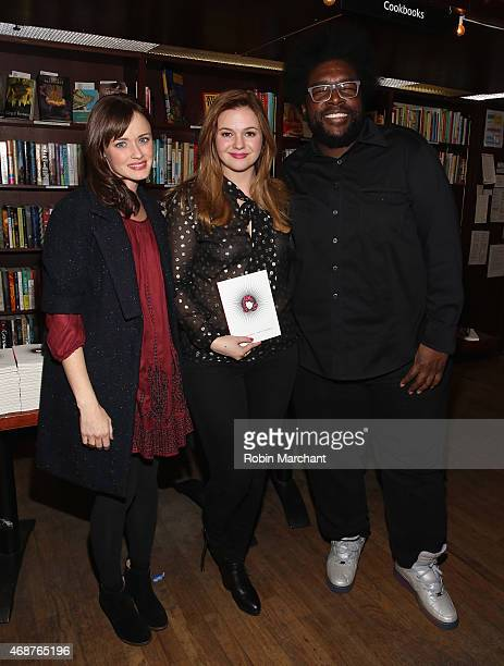 Alexis Bledel Amber Tamblyn and Questlove attend Amber Tamblyn 'Dark Sparkler' Book Release Party at Housing Works Bookstore Cafe on April 6 2015 in...