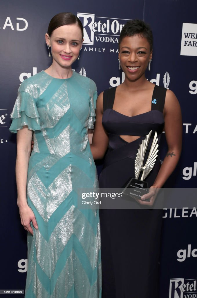 Alexis Bledel and Samira Wiley, recipient of the Vito Russo Award, attend the 29th Annual GLAAD Media Awards at The Hilton Midtown on May 5, 2018 in New York City.
