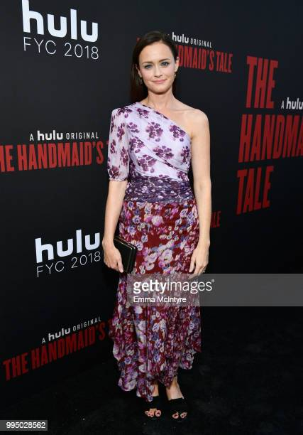 Alexis Bledel attends The Handmaid's Tale Hulu finale at The Wilshire Ebell Theatre on July 9 2018 in Los Angeles California