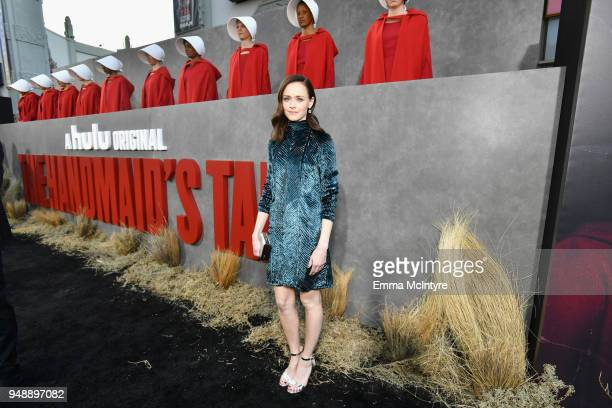 "Alexis Bledel attends the premiere of Hulu's ""The Handmaid's Tale"" Season 2 at TCL Chinese Theatre on April 19, 2018 in Hollywood, California."