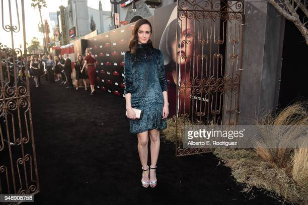 Alexis Bledel attends the season 2 premiere of Hulu's 'The Handmaid's Tale' at the TCL Chinese Theatre on April 19 2018 in Hollywood California