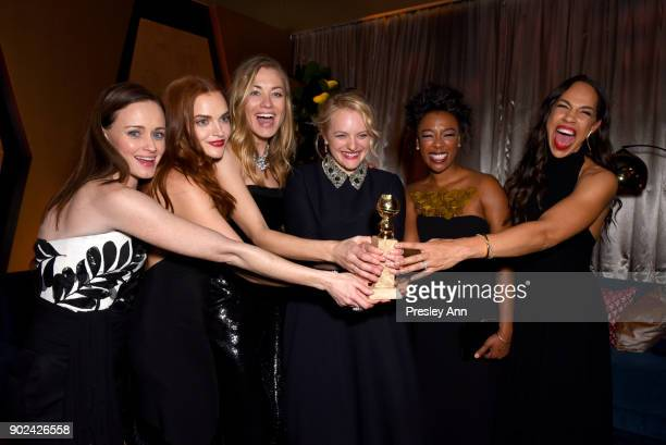 Alexis Bledel Madeline Brewer Yvonne Strahovski Elisabeth Moss Samira Wiley and Amanda Brugel attend FOX FX and Hulu 2018 Golden Globe Awards After...
