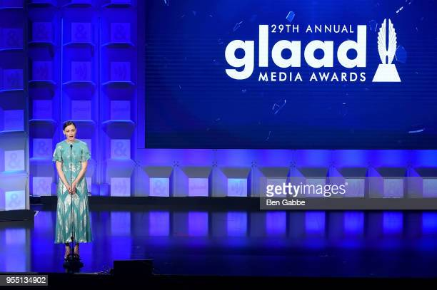 Alexis Bledel speaks on stage at the 29th Annual GLAAD Media Awards in partnership with longstanding LGBTQ ally KetelOne FamilyMade Vodka on May 5...