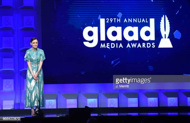 Alexis Bledel speaks onstage at the 29th Annual GLAAD Media Awards at The Hilton Midtown on May 5 2018 in New York City