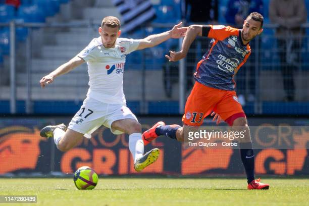 Alexis Blin of Amiens defended by Ellyes Skhiri of Montpellier during the Montpellier Vs SC Amiens French Ligue 1 regular season match at Stade de la...