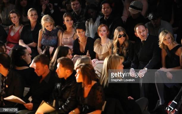 Alexis Bryan Natasha Henstrudge Jaime King Joss Stone Rihanna Rose McGowen Fergie John Dempsey and Amy Smart attend the Max Azria 2008 fashion show...