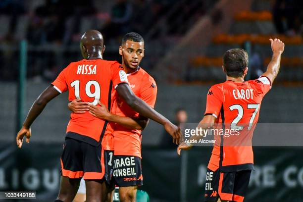 Alexis Claude Maurice of Lorient celebrates his goal during the French Ligue 2 match between Red star and Lorient at Stade Pierre Brisson on...