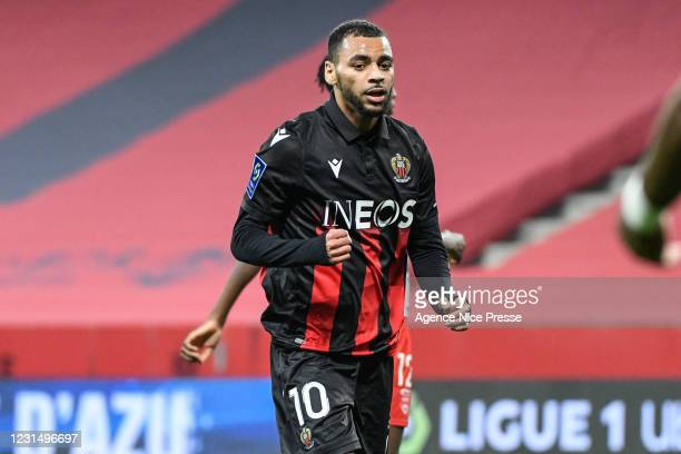 Alexis CLAUDE-MAURICE of Nice celebrates his goal during the Ligue 1 match between OGC Nice and Nimes Olympique at Allianz Riviera on March 7, 2021...