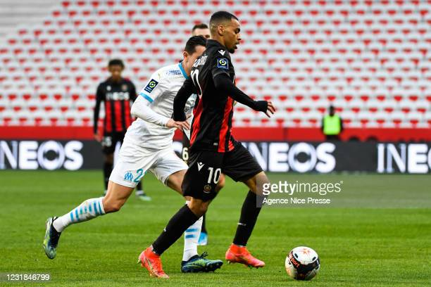 Alexis CLAUDE-MAURICE of Nice during the Ligue 1 match between OGC Nice and Olympique Marseille at Allianz Riviera on March 20, 2021 in Nice, France.