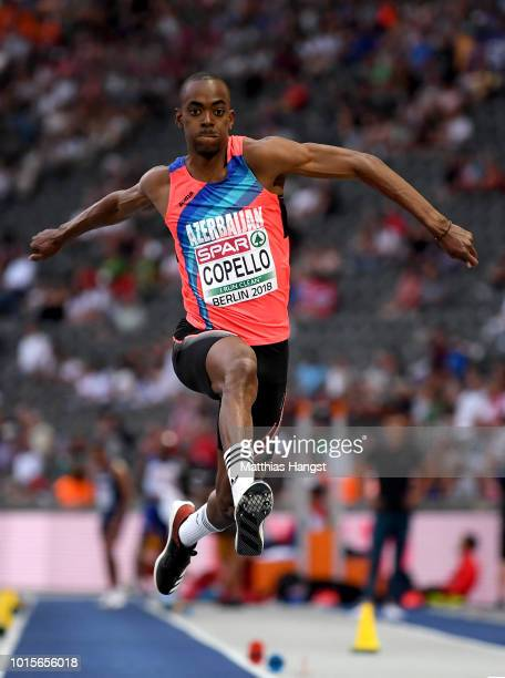 Alexis Copello of Azerbaijan competes in the Men's Triple Jump final during day six of the 24th European Athletics Championships at Olympiastadion on...
