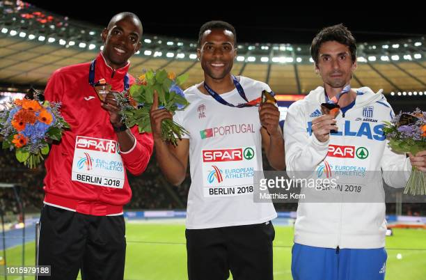 Alexis Copello of Azerbaijan silver Nelson Evora of Portugal gold and Dimitros Tsiamis of Greece bronze pose with their medals for the Men's Triple...