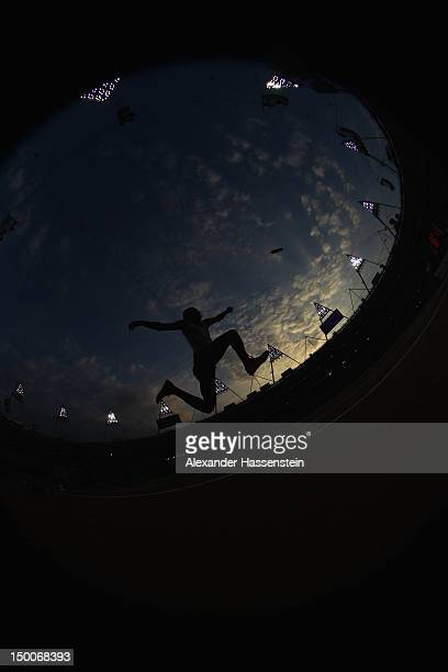 Alexis Copello of Cuba competes during the Men's Triple Jump Final on Day 13 of the London 2012 Olympic Games at Olympic Stadium on August 9 2012 in...