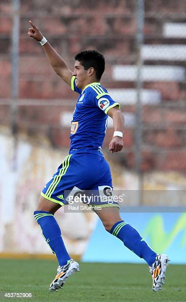 Alexis Cossio of Sporting Cristal celebrates a scored goal against Cienciano during a match between Cienciano and Sporting Cristal as part of round...