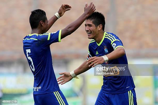 Alexis Cossio of Sporting Cristal celebrates with Pedro Aquino a scored goal against Union Comercio during a match between Union Comercio and...