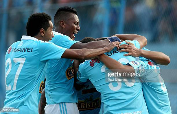 Alexis Cossio of Sporting Cristal celebrates with teammates after scoring the second goal of his team during a match between Sporting Cristal and FBC...