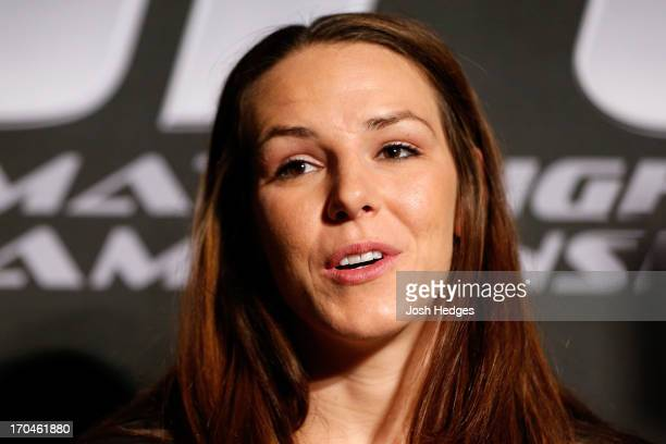 Alexis Davis interacts with media during the UFC 161 media day at The Met on June 13 2013 in Winnipeg Manitoba Canada