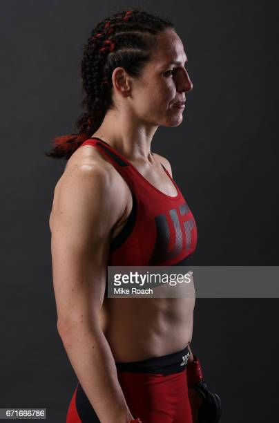 Alexis Davis of the Canada poses for a portrait backstage after her victory over Cindy Dandois during the UFC Fight Night event at Bridgestone Arena...