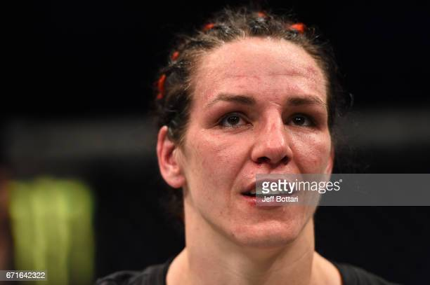 Alexis Davis of the Canada reacts after the conclusion of her women's bantamweight bout against Cindy Dandois of Belgium during the UFC Fight Night...