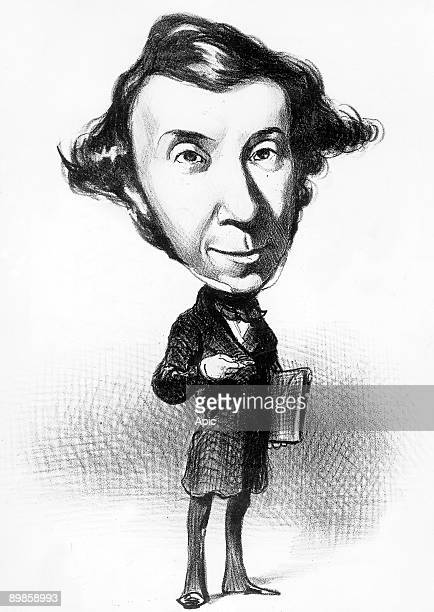 Alexis de Tocqueville french historian cartoon by Honore Daumier engraving