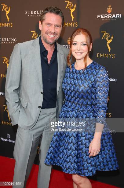 Alexis Denisof and Alyson Hannigan attend the Television Academy's Performers Peer Group Celebration at NeueHouse Hollywood on August 20 2018 in Los...
