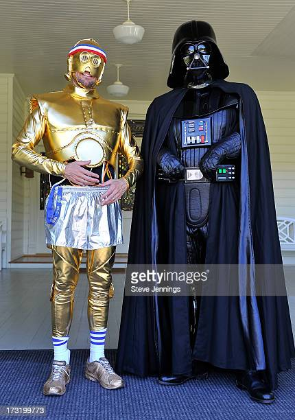 Alexis Denisof poses with Star Wars character Darth Vader at the Course Of The Force 2013 An Epic Lightsaber Relay Benefiting MakeAWish Foundation at...