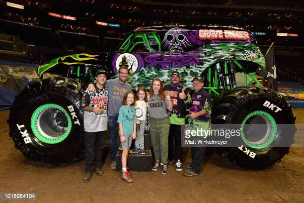 Alexis Denisof Satyana Denisof Keeva Denisof and Alyson Hannigan attend Monster Jam at STAPLES Center on Saturday August 18 2018 in Los Angeles CAa