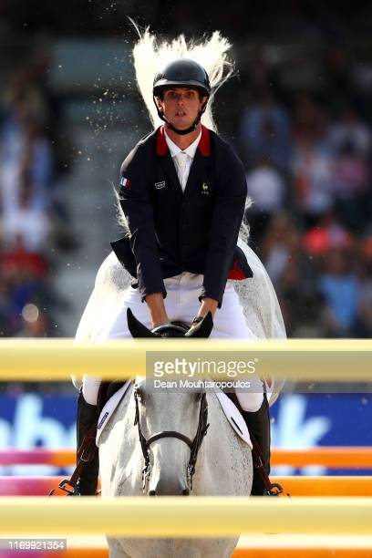 Alexis Deroubaix of France riding Timon d'Aure competes during Day 5 of the Longines FEI Jumping European Championship, Round 2 Team Final, Second...