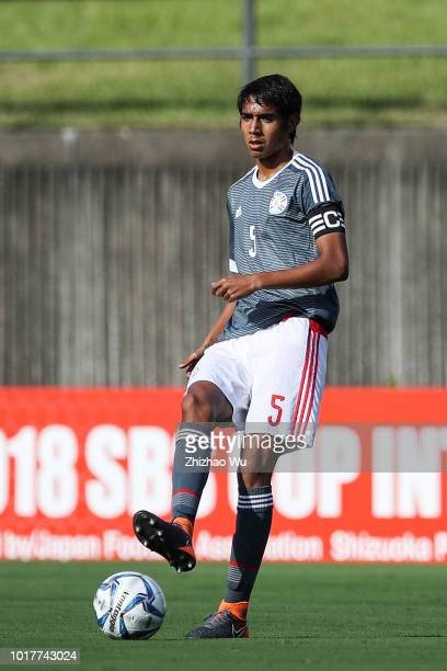 Alexis Duarte of Paraguay U18 in action during the Shizuoka Youth Selection Team and Paraguay U18 during the SBS Cup International Youth Soccer at...