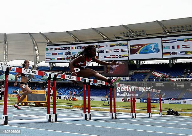 Alexis Duncan of the USA leads during round one of the girls 100m Hurdles on day one of the IAAF World Youth Championships Cali 2015 on July 15 2015...