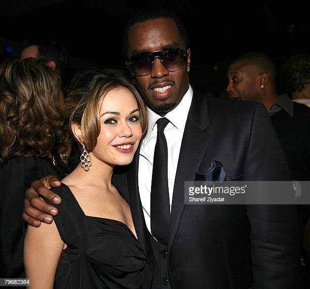 Alexis Dziena and Sean Diddy Combs attends Sean John's Fall 2008 collection after party during MercedesBenz Fashion Week Fall 2008 at Tenjune on...