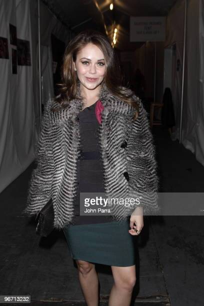 Alexis Dziena is seen around Bryant Park during day 4 of MercedesBenz Fashion Week Fall 2010 at Bryant Park on February 14 2010 in New York City