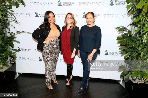 Alexis Feaster Stephanie Scarpulla and Quinn Rhone attend The Recording Academy Washington DC Chapter's Intersection of Music Sports event at the...