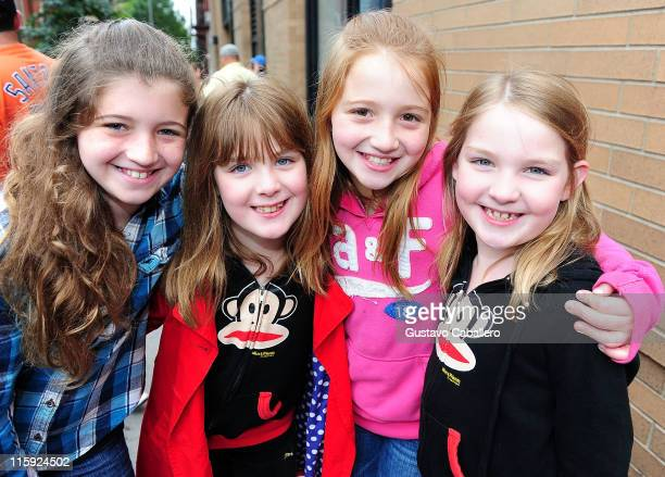 Alexis Fishman Morgan Norquist Madison FishMan and Brynne Norquist attends the Annie the Musical Broadway auditions on June 12 2011 in New York City