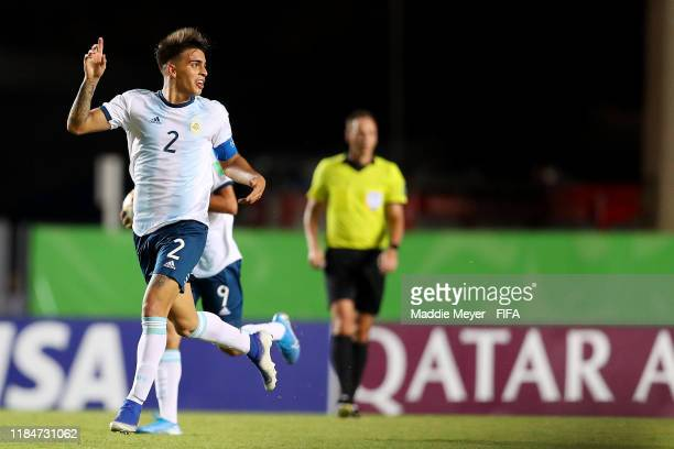Alexis Flores of Argentina celebrates after scoring a goal during the FIFA U17 World Cup Brazil 2019 group E match between Cameroon and Argentina at...