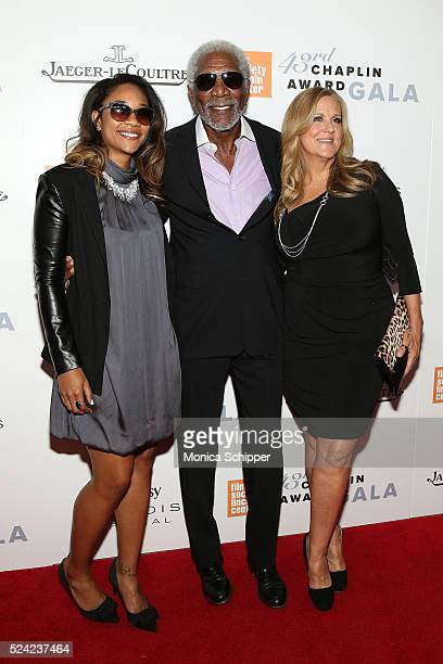 Alexis Freeman recipient of the 43rd Annual Chaplin Award actor Morgan Freeman and President of the Producer's Guild of America Lori McCreary attend...